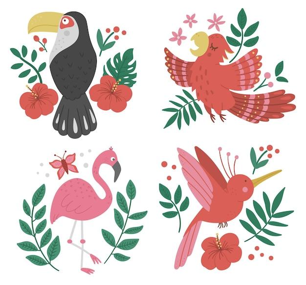 Conjunto com pássaros exóticos, folhas, flores