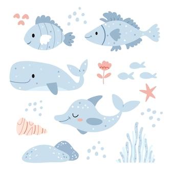 Conjunto com peixes azuis ilustração subaquática em cores azuis ilustração para livro infantil