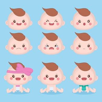 Conjunto com pequenos rostos emocionais de bebê