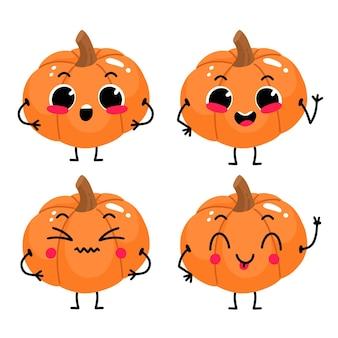 Conjunto com personagem de desenho animado bonito de abóbora com emoções diferentes.