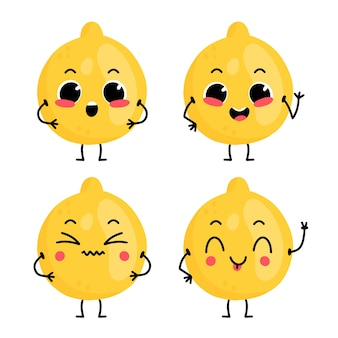 Conjunto com personagem de desenho animado bonito limão com emoções diferentes.