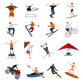 Conjunto com pessoas fazendo vários tipos de esportes radicais