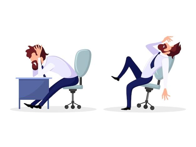 Conjunto com poses de trabalhador de escritório, funcionário que tem problemas psicológicos.
