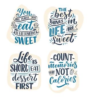 Conjunto com provérbios engraçados, citações inspiradoras