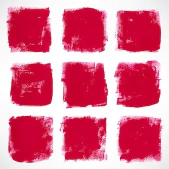 Conjunto com quadrados rosa de tinta grunge
