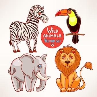 Conjunto com quatro animais selvagens fofos da selva