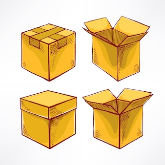 Conjunto com quatro caixas de esboço. caixas abertas e fechadas. ilustração desenhada à mão
