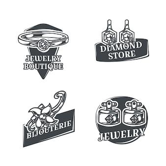 Conjunto com quatro logotipos de joalheiro monocromáticos isolados