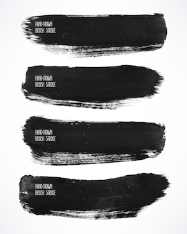 Conjunto com quatro pinceladas de aquarela preta
