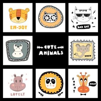 Conjunto com rostos de animais fofos e lettering animais fofos!