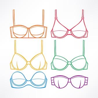 Conjunto com roupa íntima feminina. sutiãs de cores diferentes