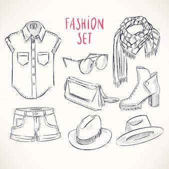 Conjunto com roupas e acessórios juvenis desenhados à mão