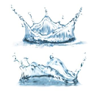Conjunto com salpicos de água, formas abstratas com gotículas, coroa de splatter