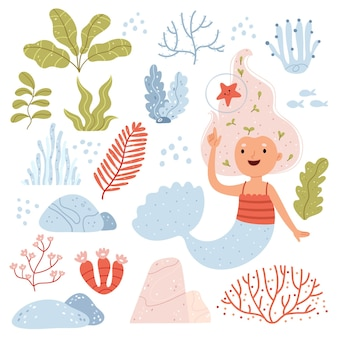 Conjunto com sereia e algas marinhas