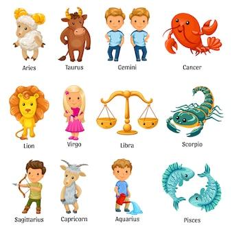 Conjunto com signos do zodíaco dos desenhos animados.