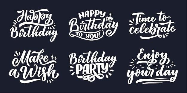 Conjunto com slogans de letras para feliz aniversário