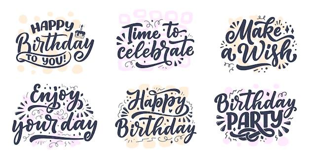 Conjunto com slogans de letras para feliz aniversário.
