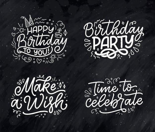 Conjunto com slogans de letras para frases de mão desenhada de feliz aniversário para cartazes de cartões-presente e impressão de ...