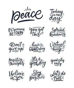 Conjunto com slogans de letras positivas em estilo moderno.