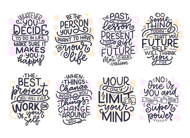Conjunto com slogans de letras sobre ser você mesmo. citações engraçadas para blog, pôster