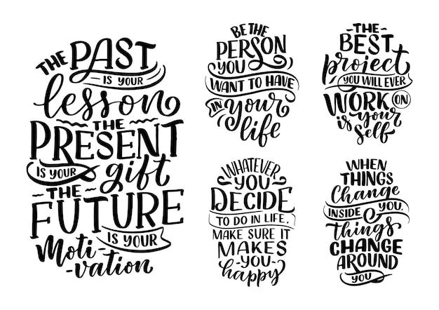 Conjunto com slogans de letras sobre ser você mesmo. textos de caligrafia moderna sobre autocuidado.