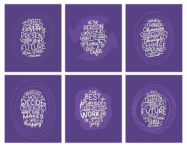 Conjunto com slogans de letras sobre ser você mesmo.