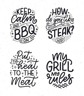 Conjunto com slogans divertidos para churrasco. letras para o projeto de jantar em família.