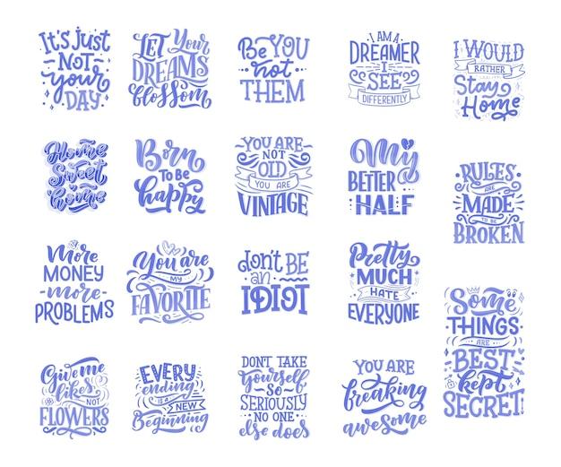 Conjunto com slogans divertidos para o design de conceito