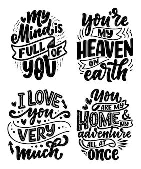 Conjunto com slogans sobre o amor em belo estilo. . texto de caligrafia de motivação
