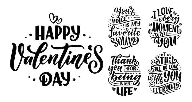 Conjunto com slogans sobre o amor no dia dos namorados.