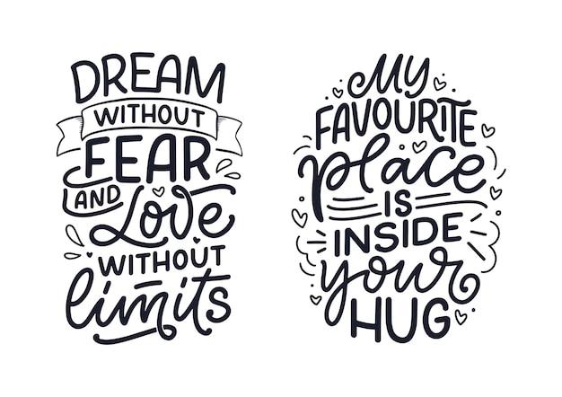 Conjunto com slogans sobre o amor no estilo de caligrafia.