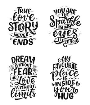 Conjunto com slogans sobre o amor no estilo de caligrafia