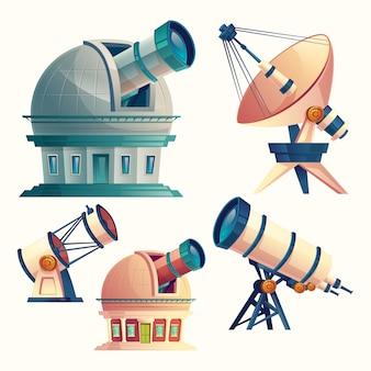 Conjunto com telescópios astronômicos, observatórios, planetário, antena parabólica.