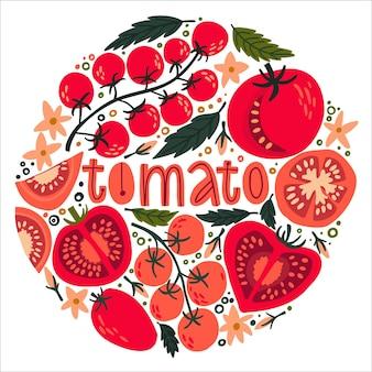 Conjunto com tomates e flores de cerejas fatias de tomate sementes e folhas de tomate