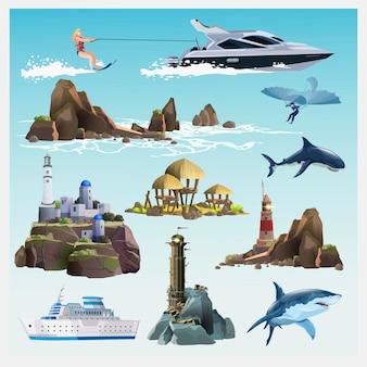 Conjunto com transporte aquático, navio de cruzeiro, tubarões, ilha tropical, torres de farol, modelo antigo de avião, garotas em repouso, iate moderno, esqui aquático feminino. coleção com elementos de viagem.