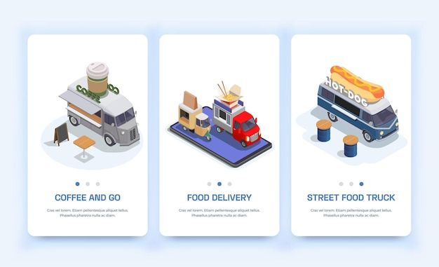 Conjunto com três banners isométricos verticais isolados de food truck