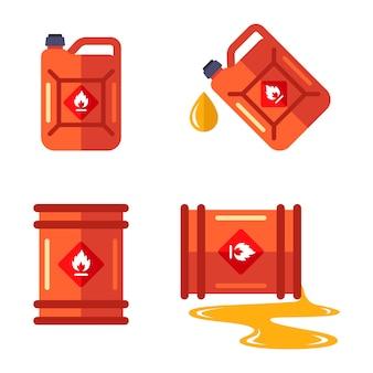 Conjunto com um barril e uma lata de gasolina.