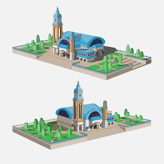 Conjunto com um belo modelo 3d de um edifício com telhado azul. edifício da estação, museu histórico ou centro comercial.