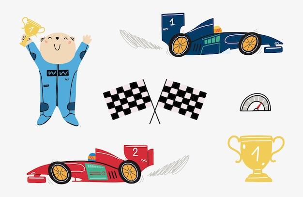 Conjunto com um urso de corrida fofo e carros de corrida