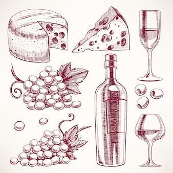 Conjunto com uma garrafa e copos de vinho, cacho de uvas e queijo