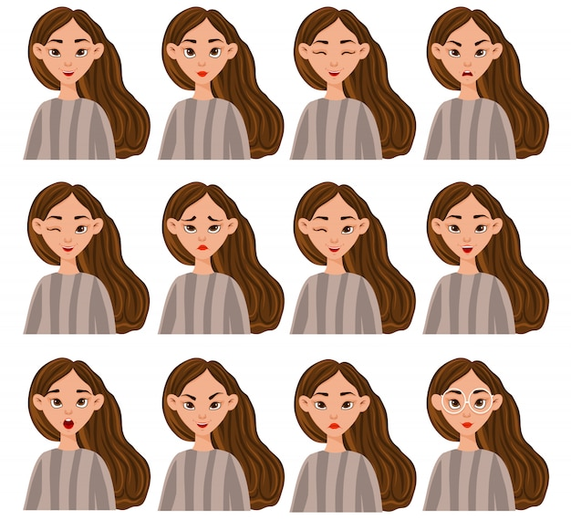 Conjunto com uma personagem feminina com diferentes expressões faciais e emoções. estilo de desenho animado. ilustração.