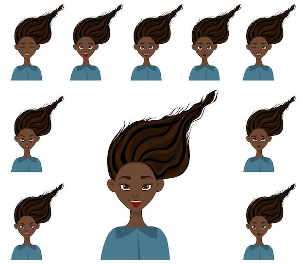 Conjunto com uma personagem feminina com diferentes expressões faciais e emoções. estilo de desenho animado.