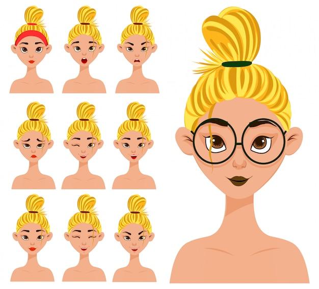 Conjunto com uma personagem feminina com diferentes expressões faciais e emoções. estilo dos desenhos animados. ilustração.
