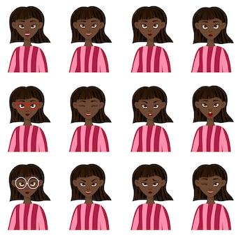 Conjunto com uma personagem feminina com diferentes expressões faciais e emoções. estilo dos desenhos animados.