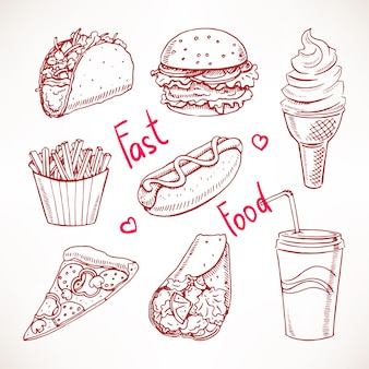 Conjunto com várias ilustrações de fast food