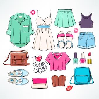 Conjunto com várias roupas e acessórios femininos de verão