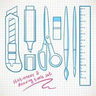 Conjunto com vários artigos de papelaria. faca de papelaria, tesoura, marcador
