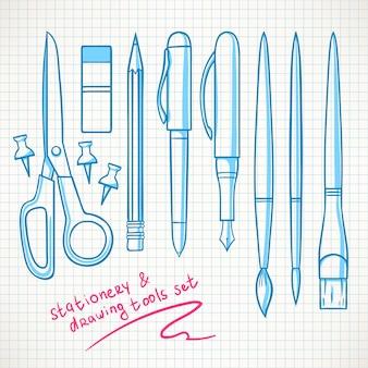 Conjunto com vários artigos de papelaria. lápis, canetas, tesouras