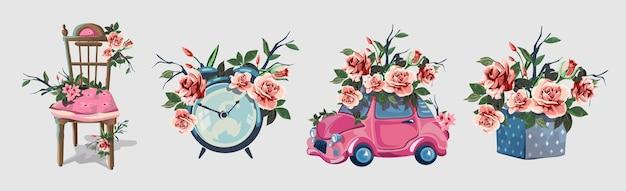 Conjunto com vários itens decorados com flores. relógio despertador, bela cadeira arrastão, caixa de presente, carrinho de presente ping.