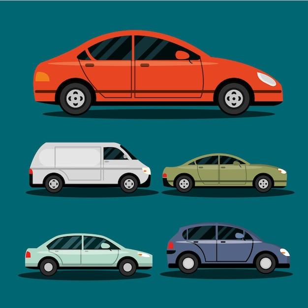 Conjunto com vários veículos de transporte de carros, ilustração de transporte da cidade